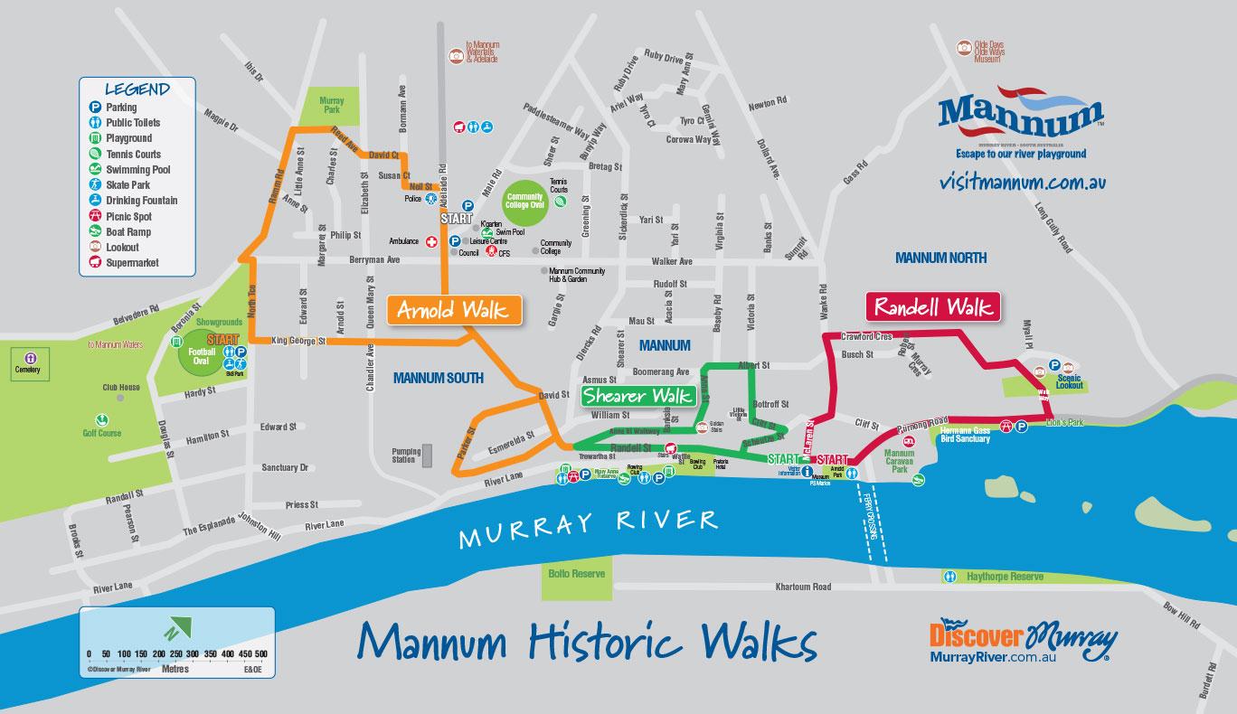 Visit Mannum Historic Walks Map
