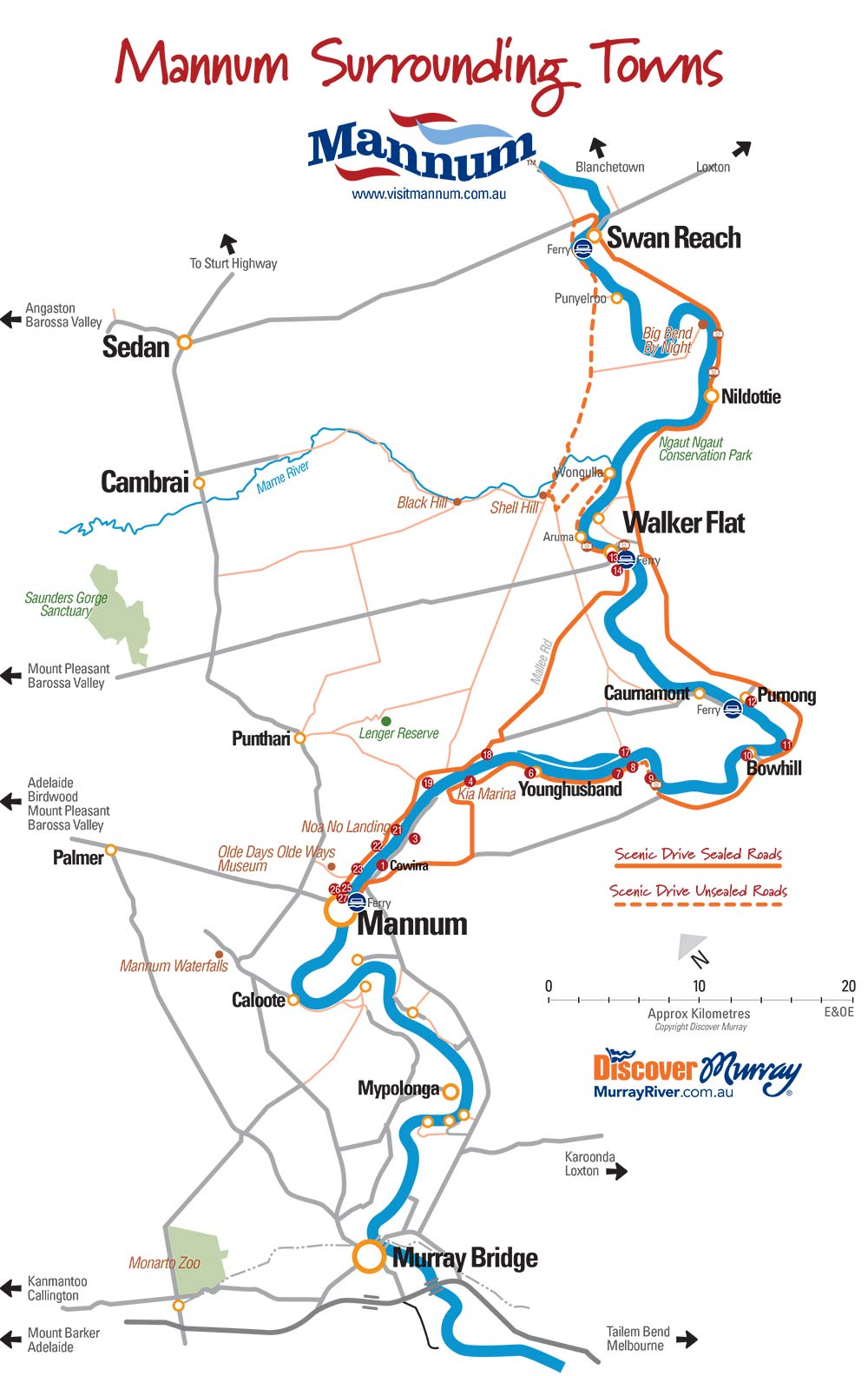 Murray River Scenic Cliffs Drive map from Mannum