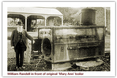 William Randell in front of Mary Ann boiler