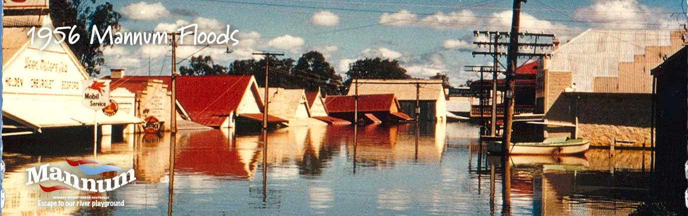 1956 Visit Mannum Floods banner